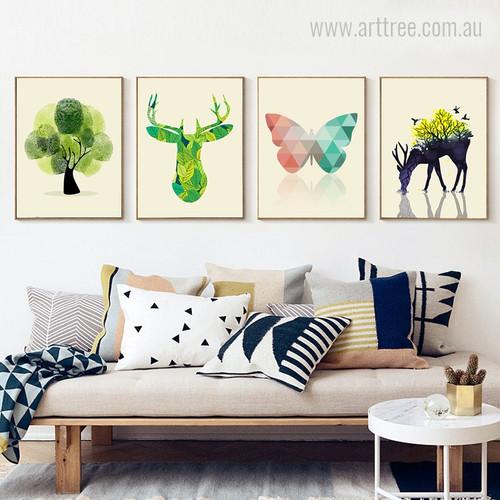 Abstract Tree, Reindeer, Geometric Butterfly, Deer