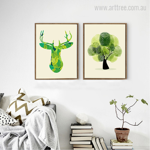 Green Deer Face and Tree