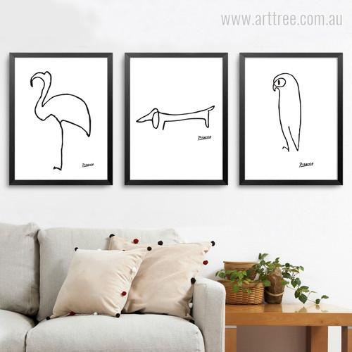 Minimalist Pablo Picasso Abstract Animals