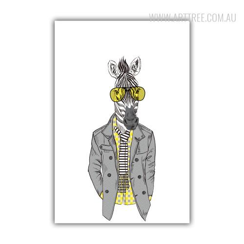 Hipster Style Dressed Yellow Shirt Goggle Zebra Fashion Animal Art Print