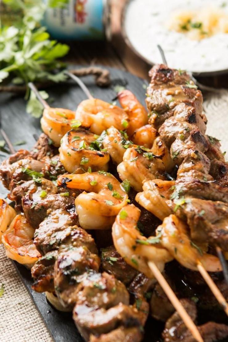 Orange Ginger Beef and Shrimp Kebabs