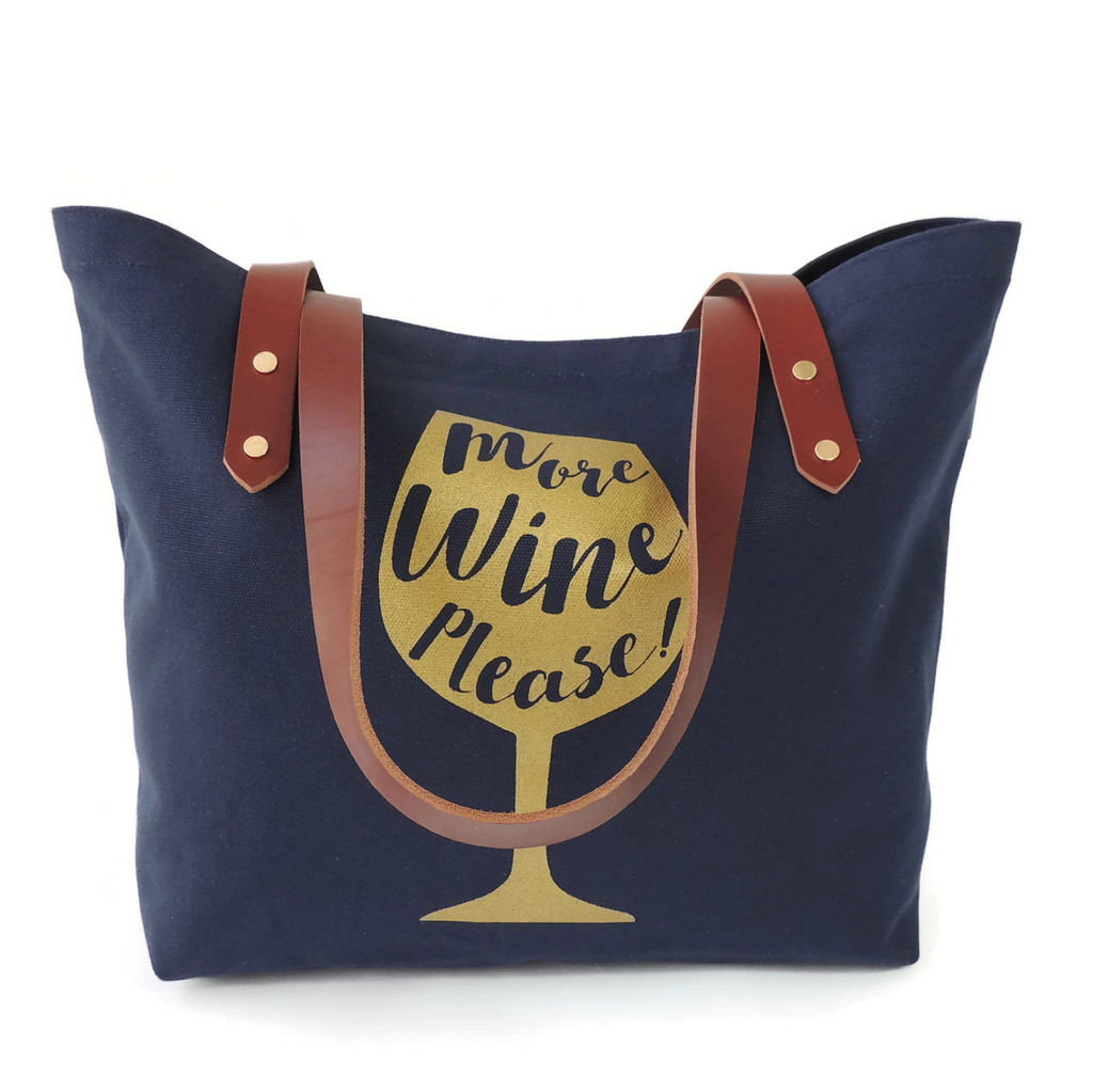 More Wine Please Canvas Market Tote in Navy