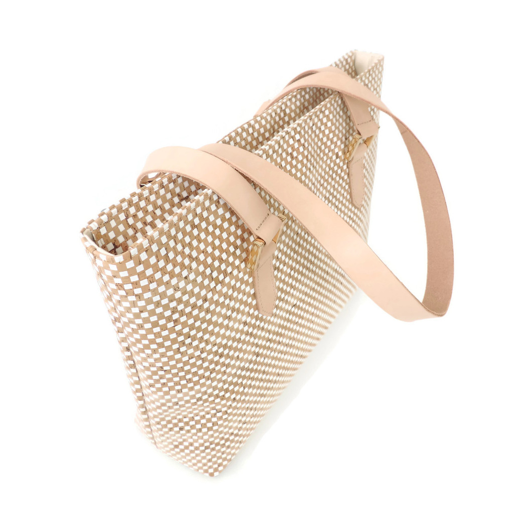 Boot Tote in White Check Cork