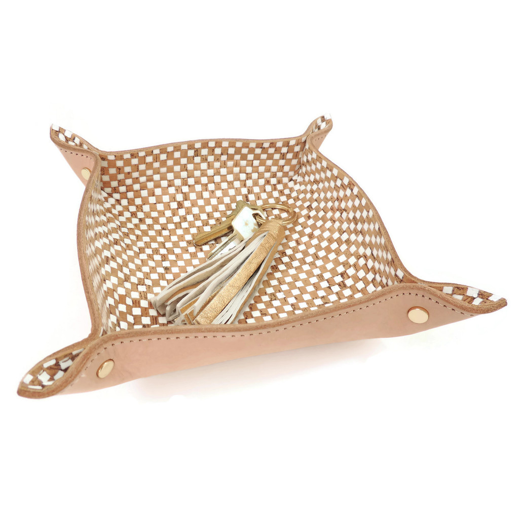 Leather Catchall Tray with White Check Cork