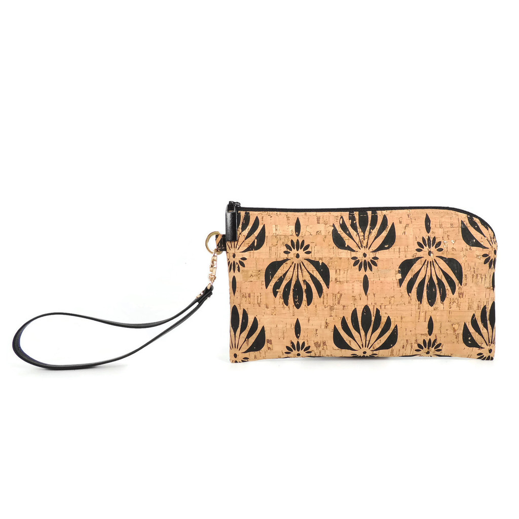 Phone Wristlet in Black Lotus Cork