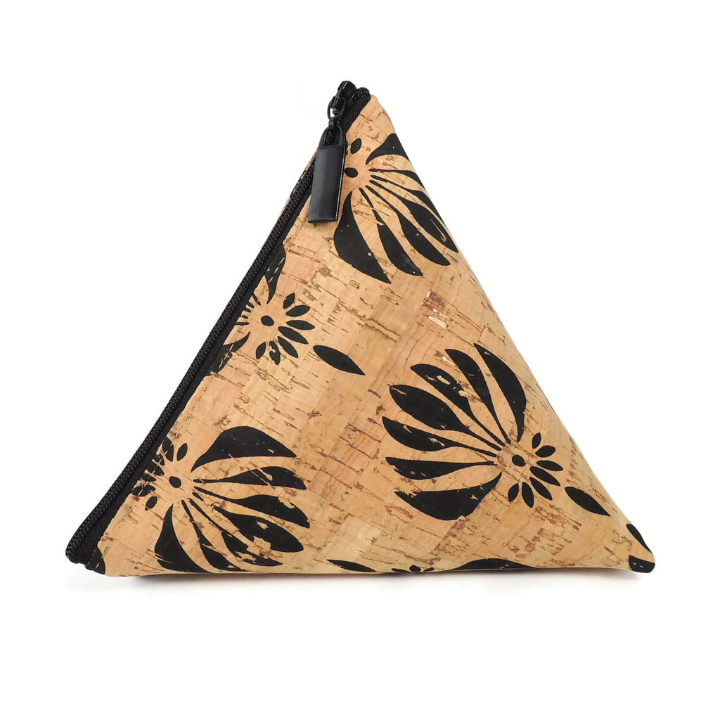 Triangle Pouch in Black Lotus Cork
