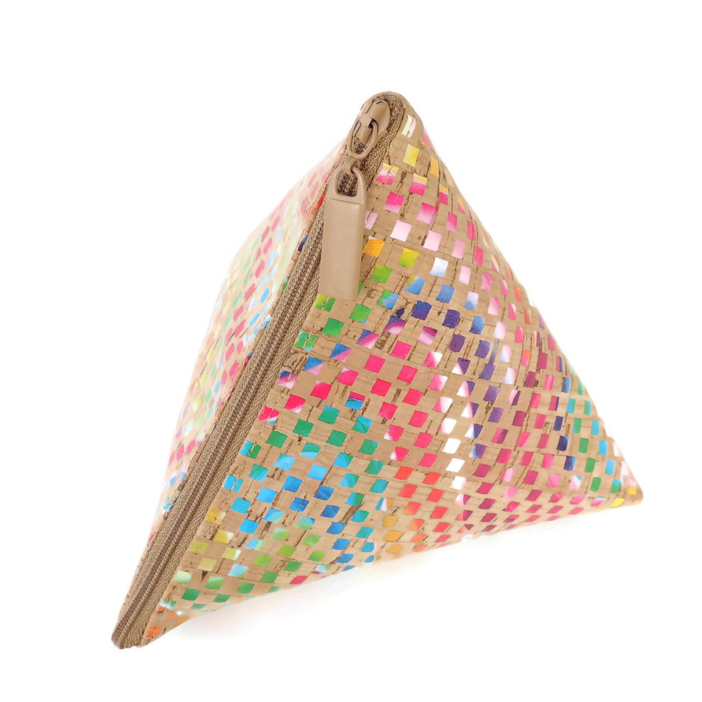 Triangle Pouch in Mosaic Cork