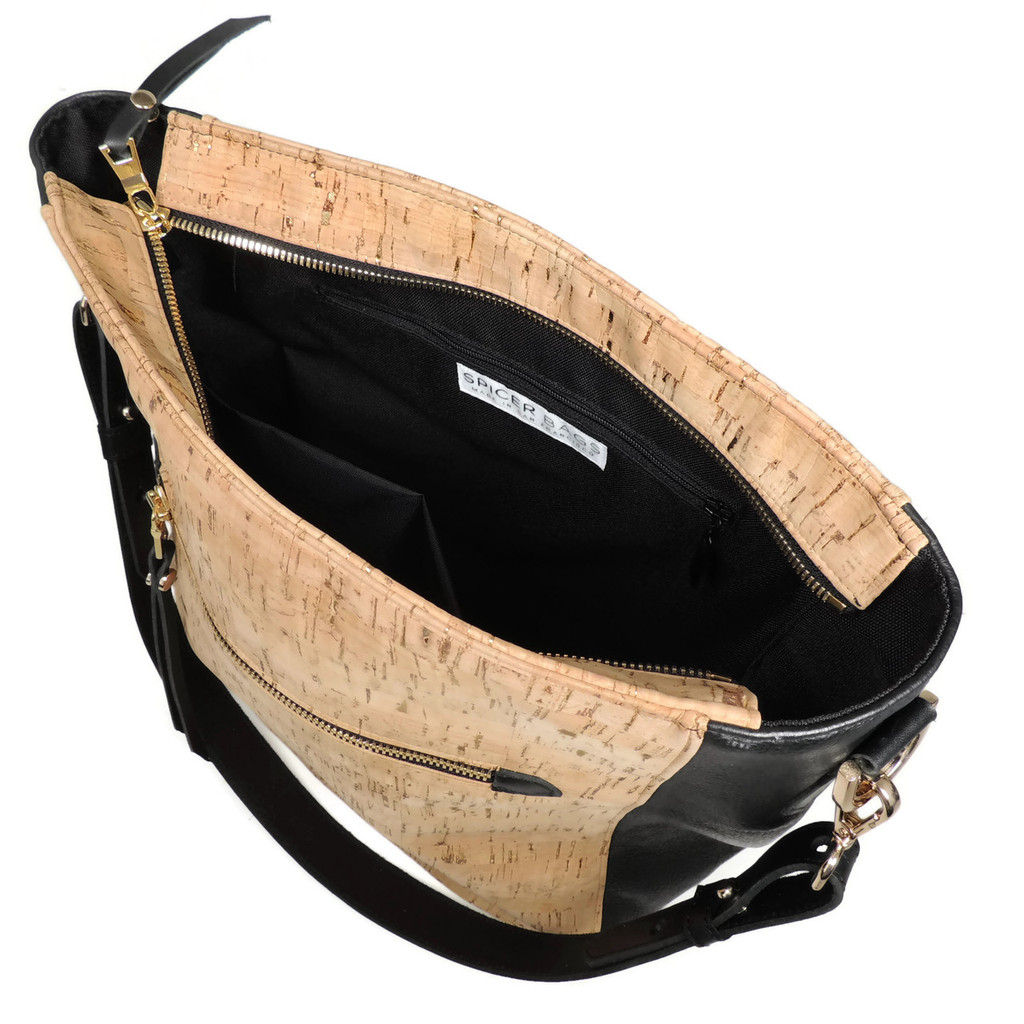 Hobo Purse in Cork Dash Gold with Black Leather
