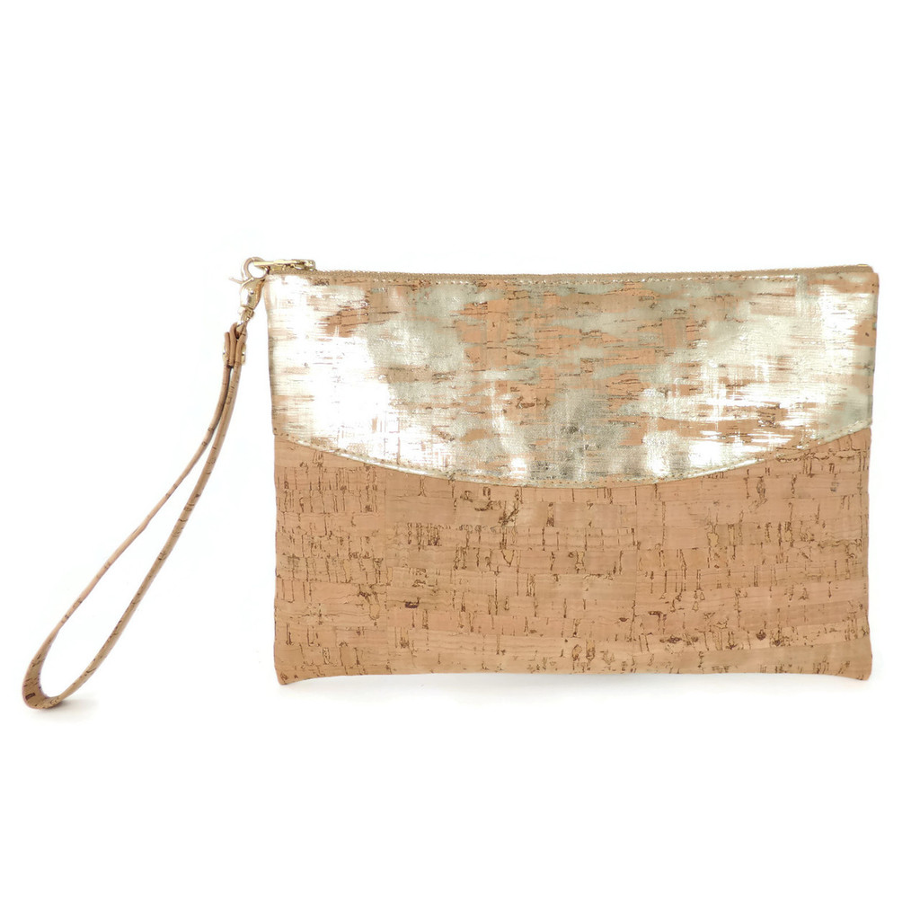 Smile Clutch in Brushed Gold Cork