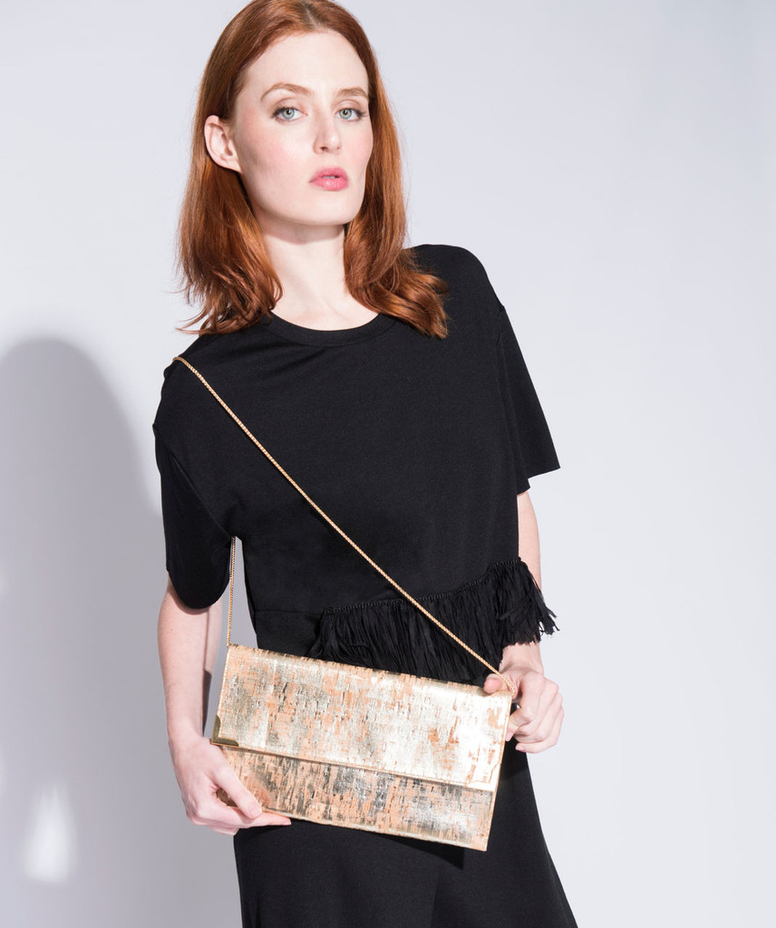 Folio Clutch in Black and Gold Cork