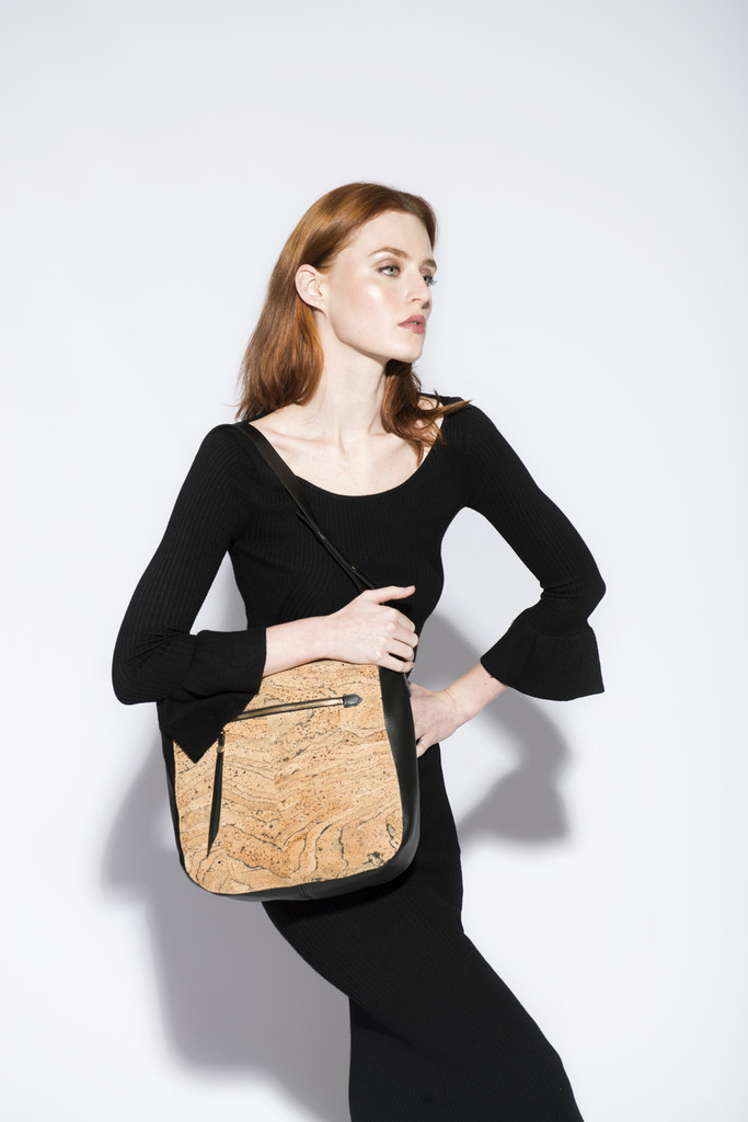 Hobo Purse in Black and Gold Cork