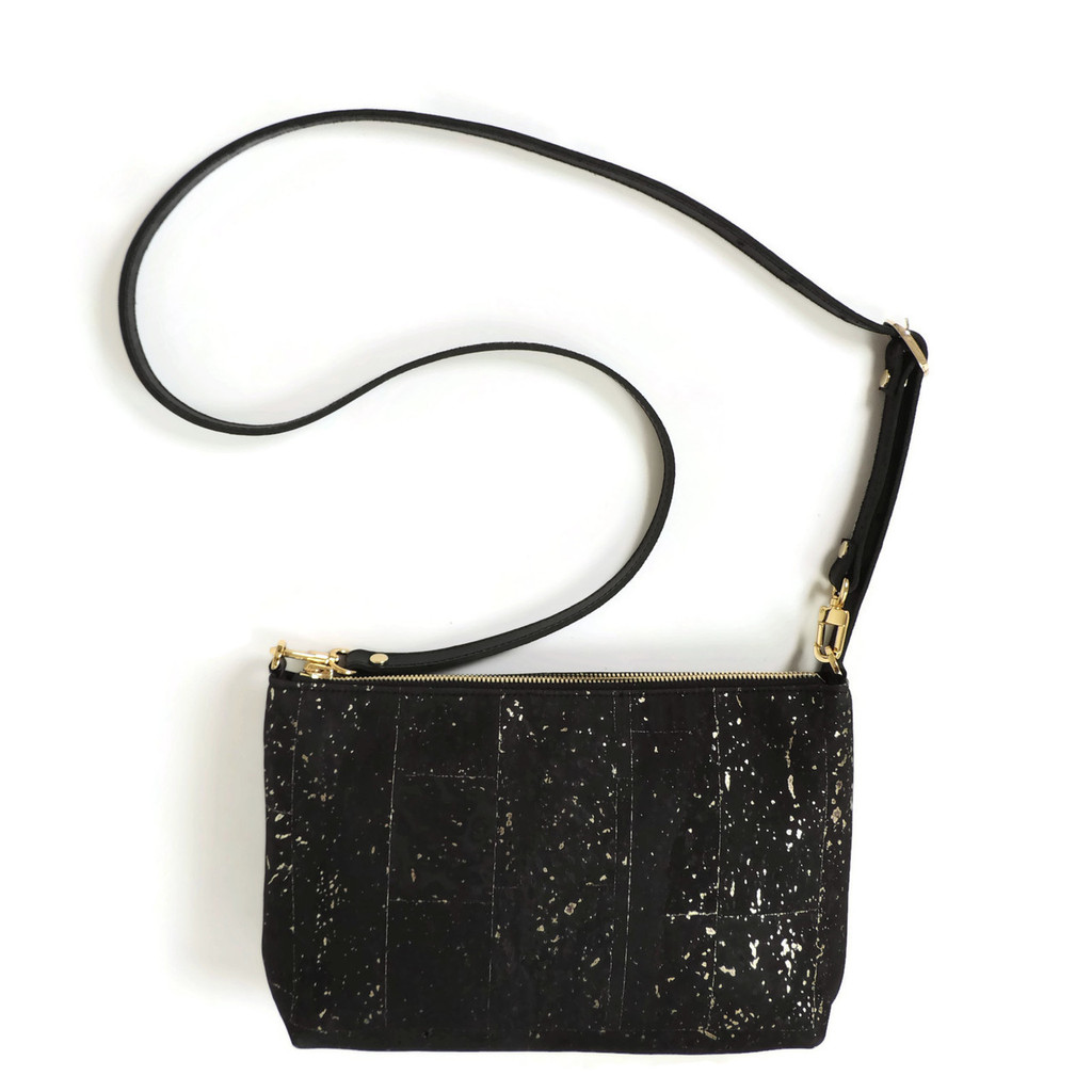 Crossbody Purse in Black and Gold Cork