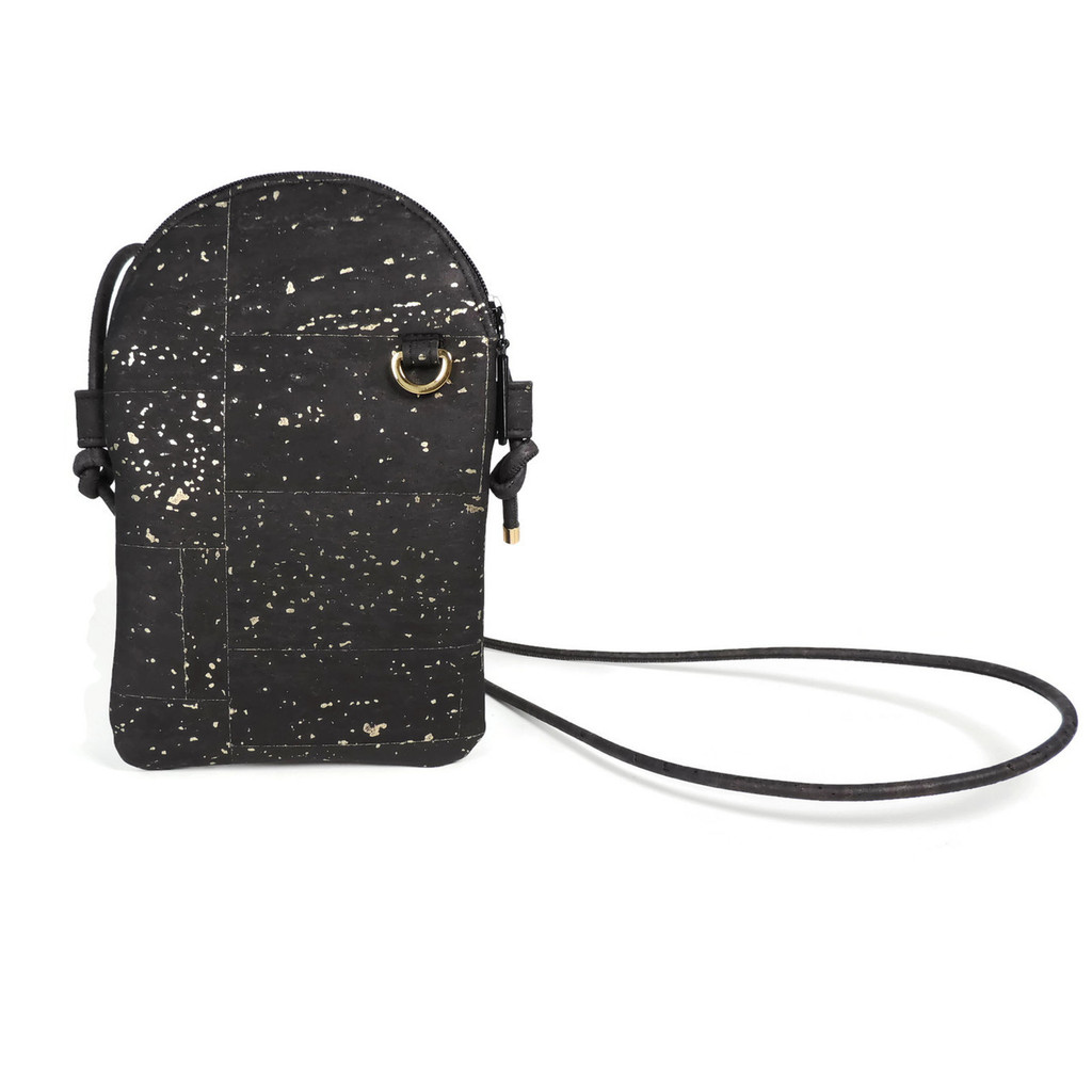 Phone Crossbody in Black and Gold Cork