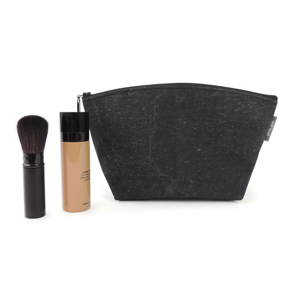 Small Standing Pouch in Black Cork Dots