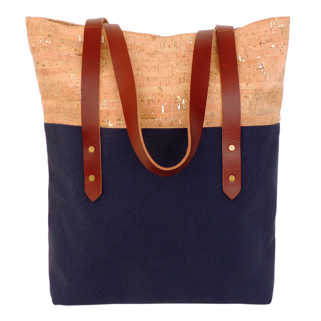 Big Boot Tote in Cork Dash Gold and Navy