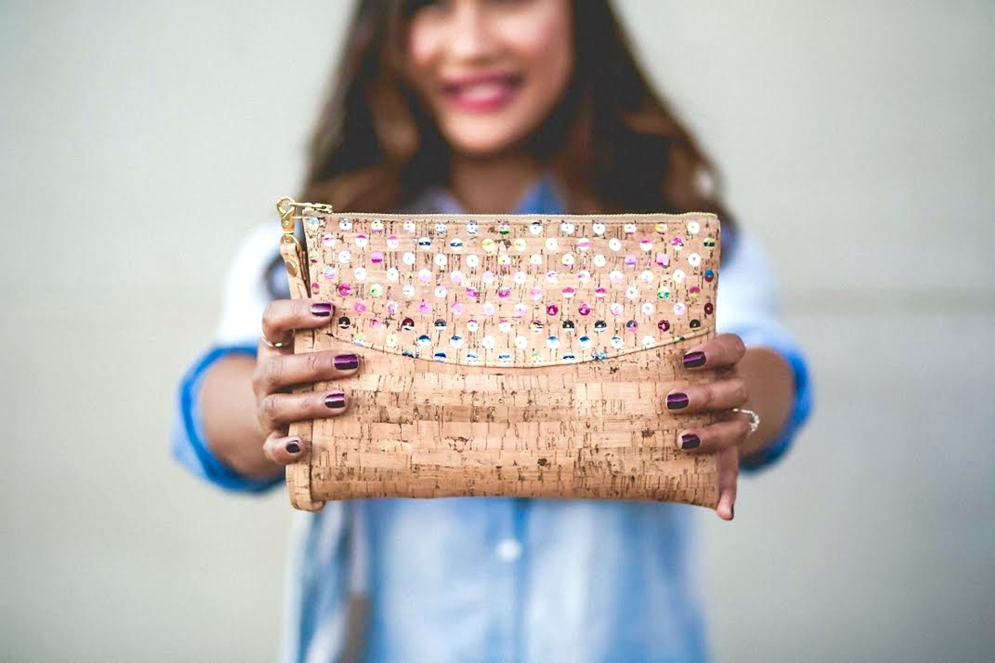 Smile Clutch in Sequin Cork