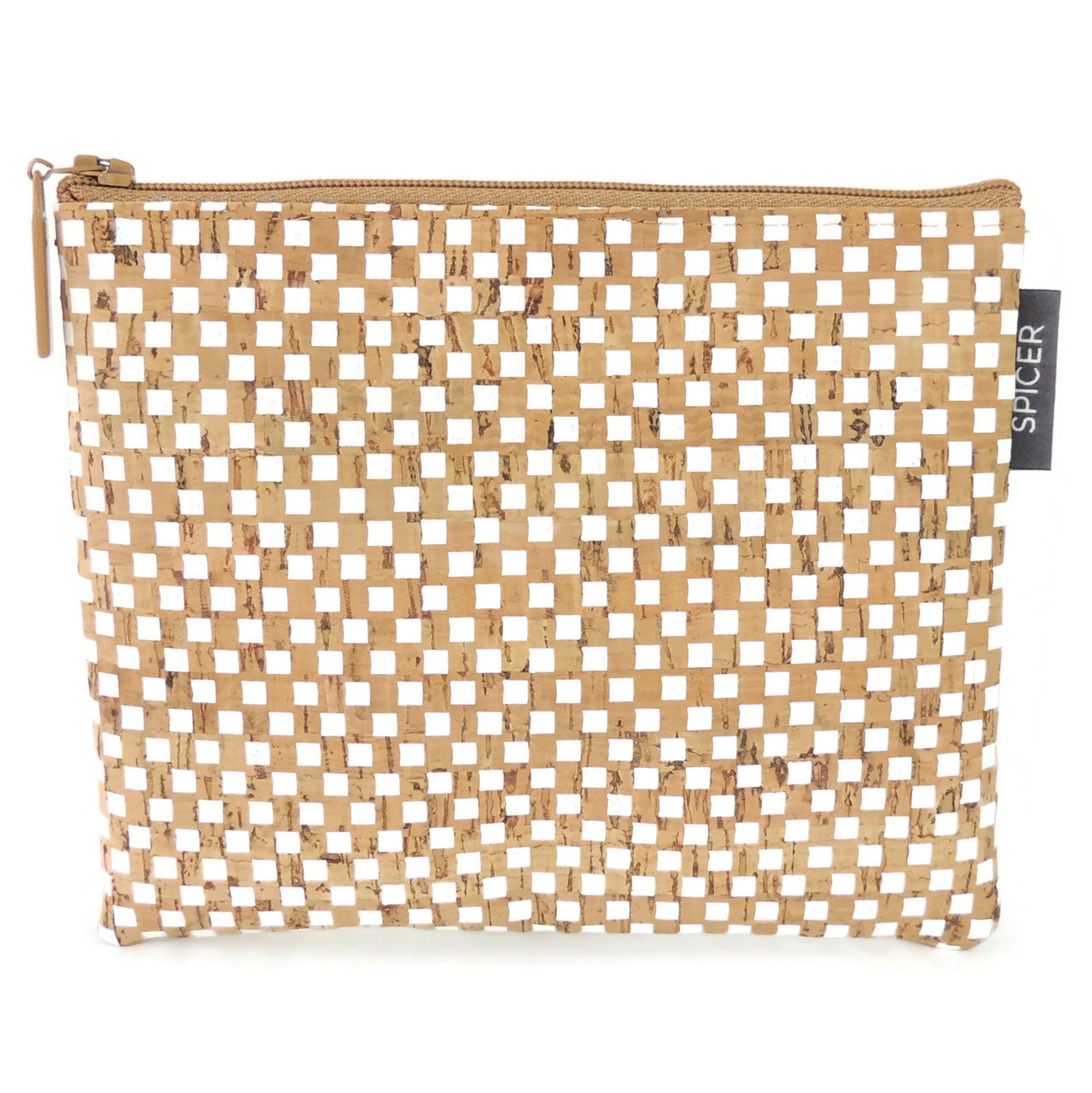 Pouch in White Check Cork