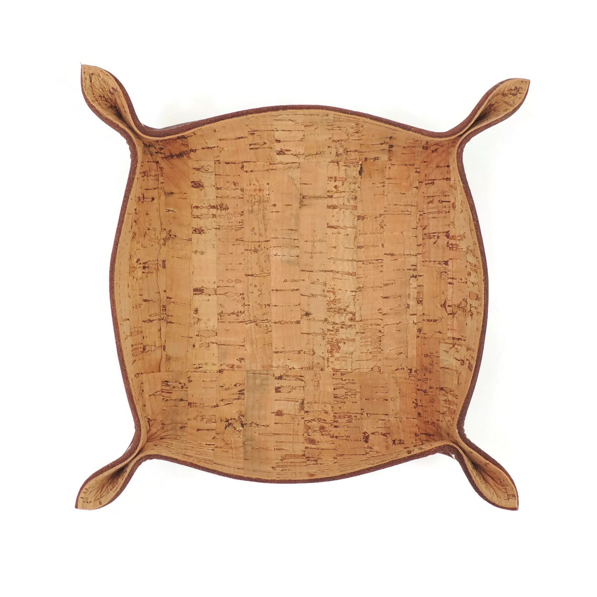 Leather Catchall Tray with Cork Dash