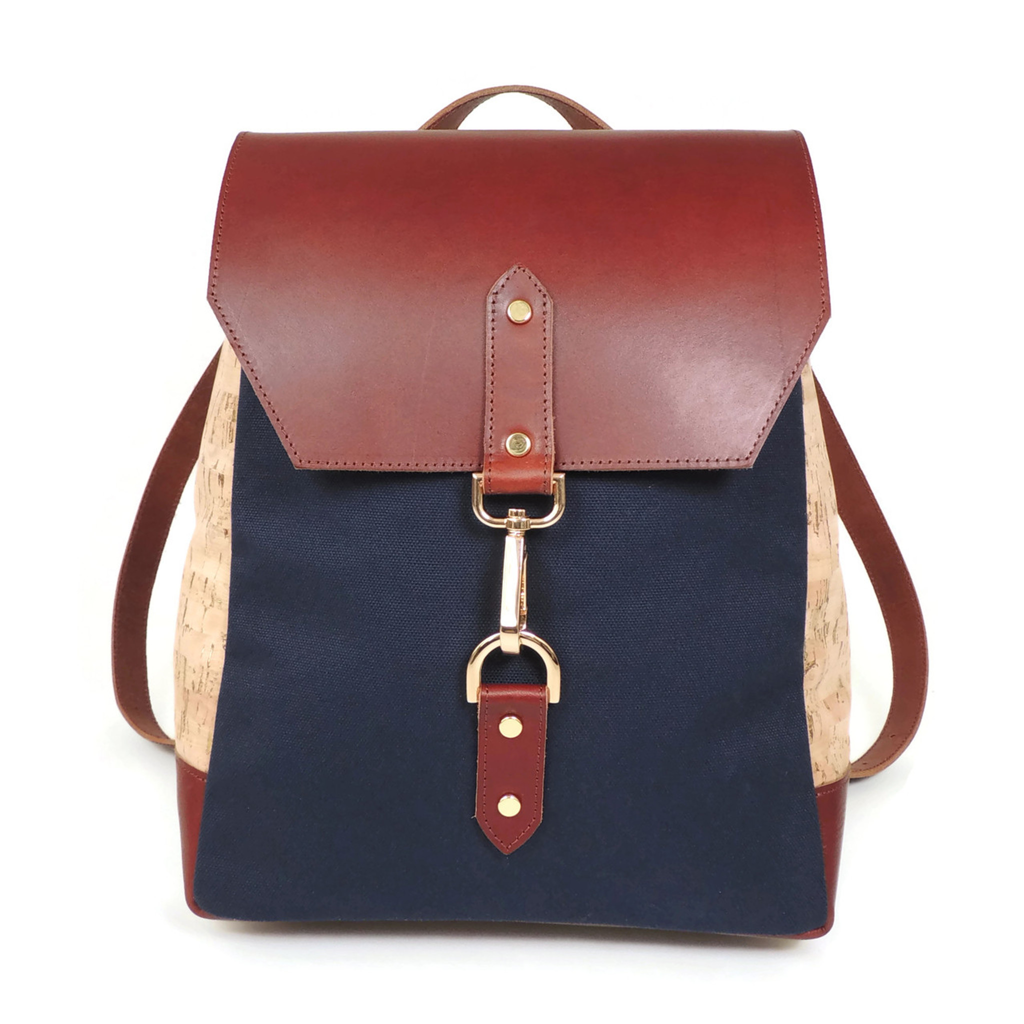 Cork & Leather Backpack in Cork Dash Gold