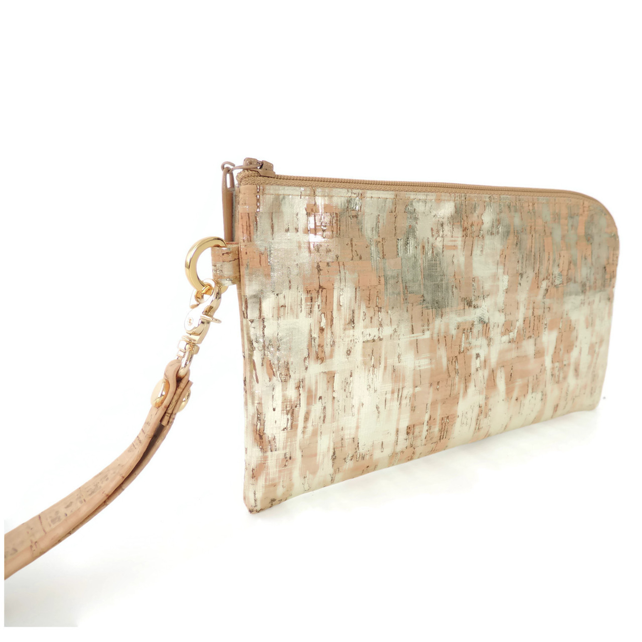 Phone Wristlet in Brushed Gold Cork