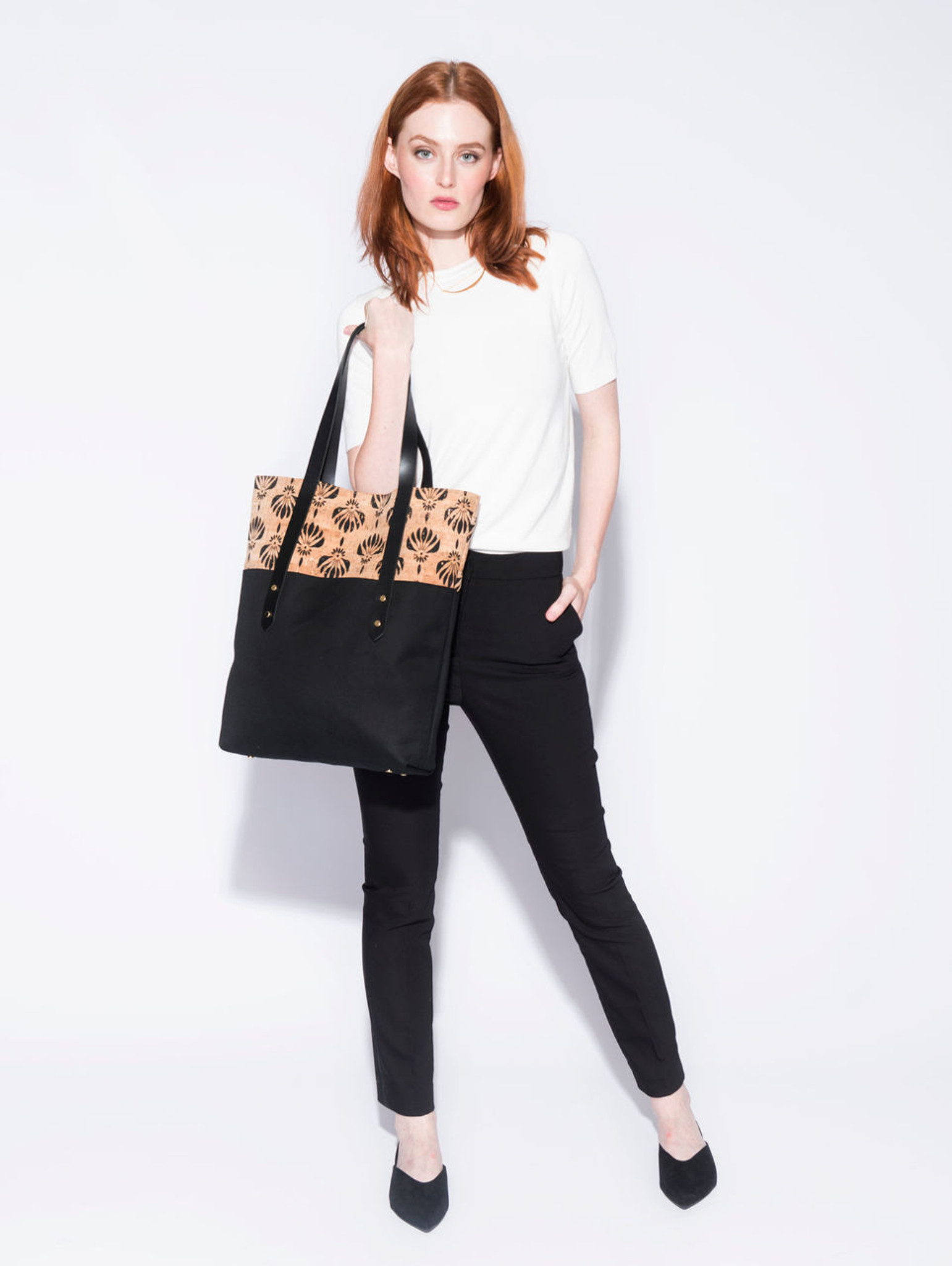 Big Boot Tote in Black Lotus Cork