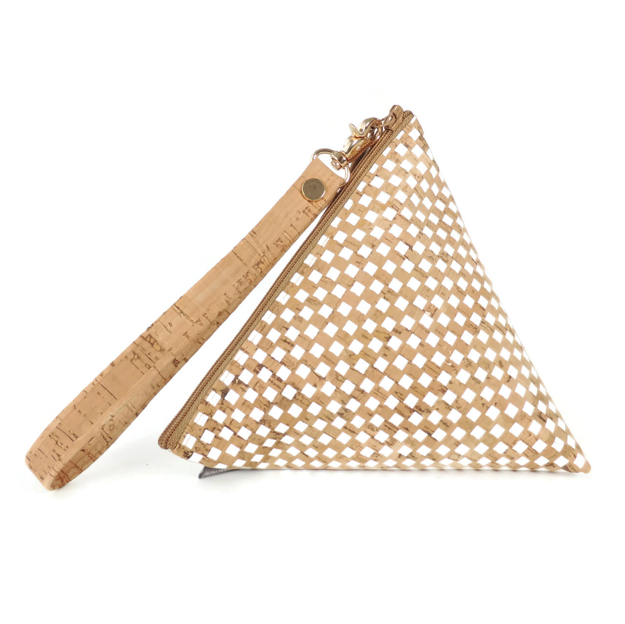 Triangle Pouch in White Check Cork