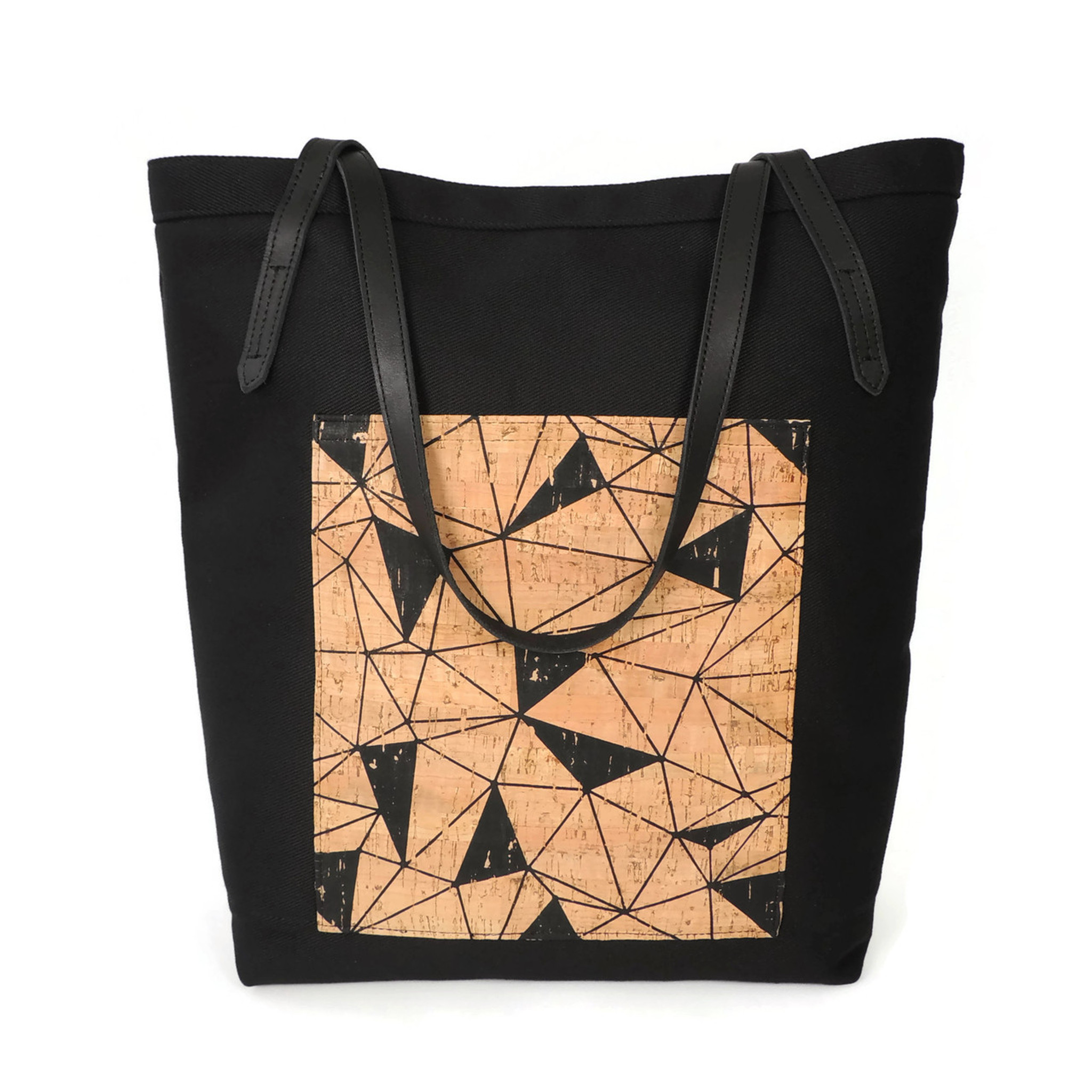 Pocket Tote in Black Twill with Geo Cork