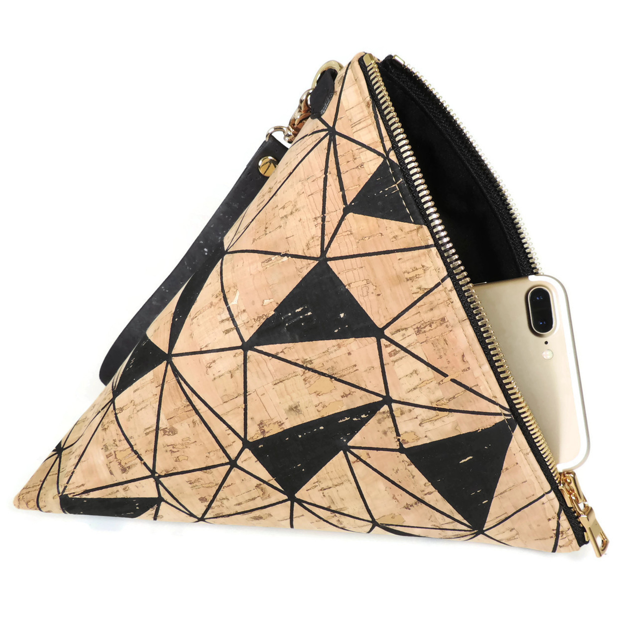 Triangle Clutch in Marble Cork