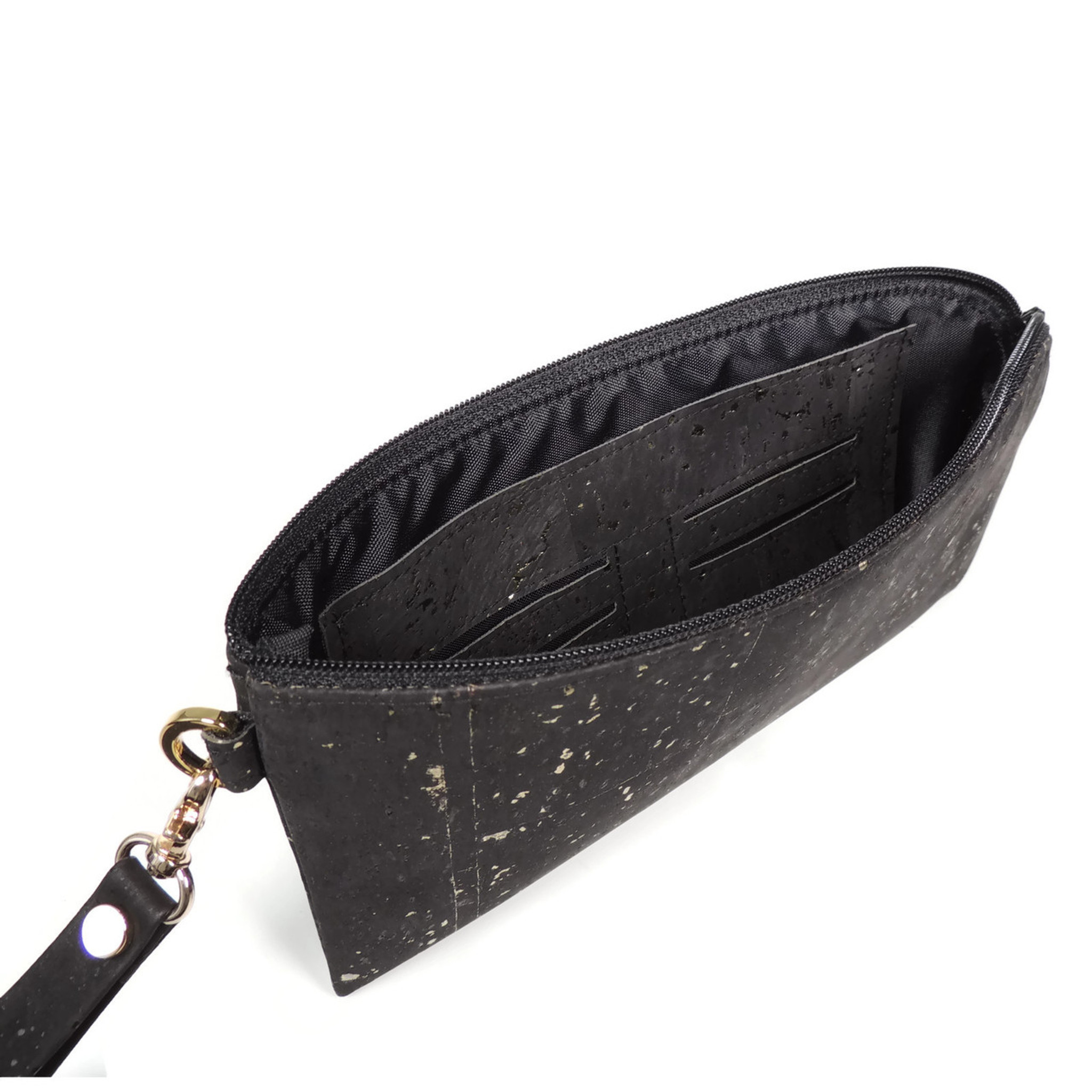 Phone Wristlet in Black and Gold Cor