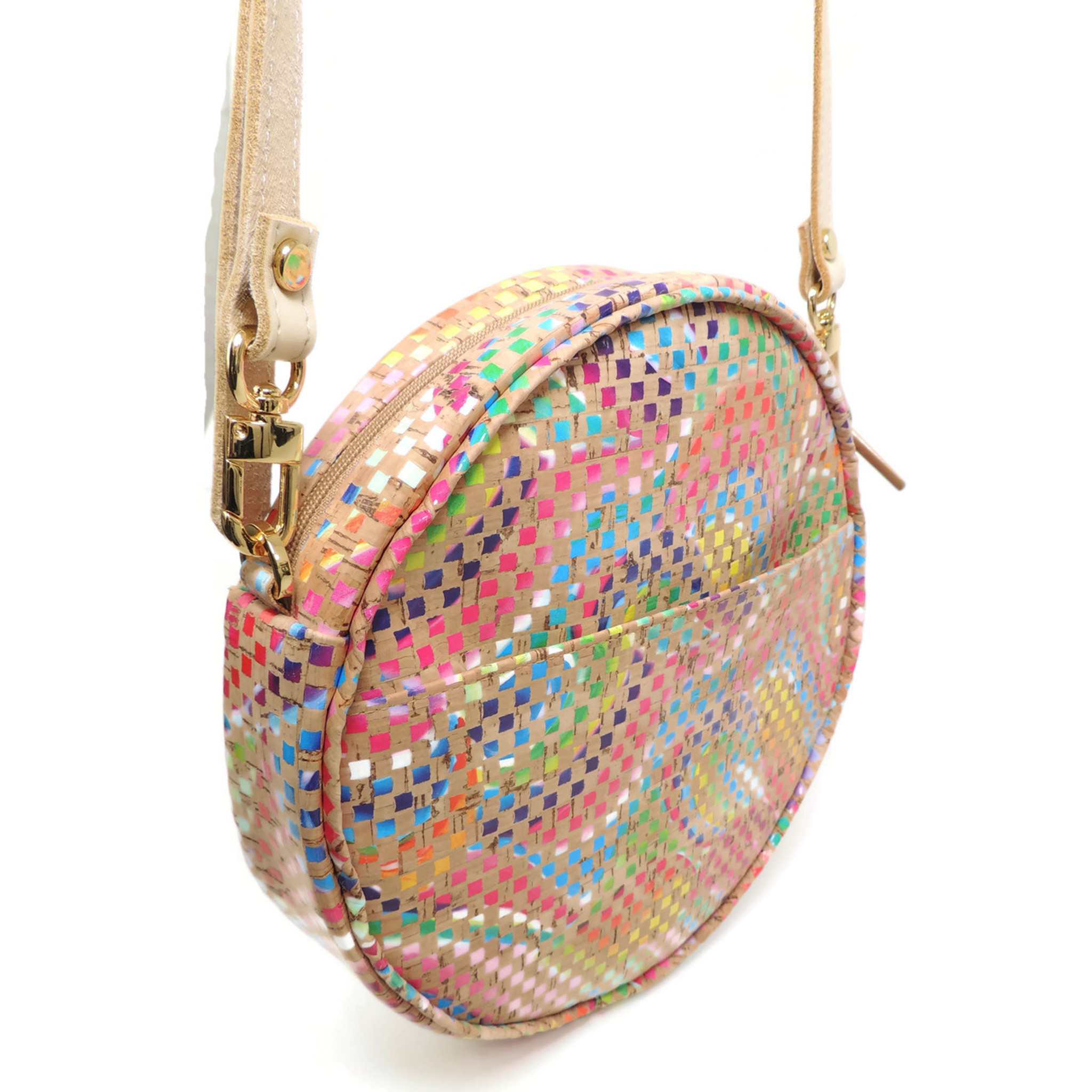 Circle Purse in Mosaic Cork