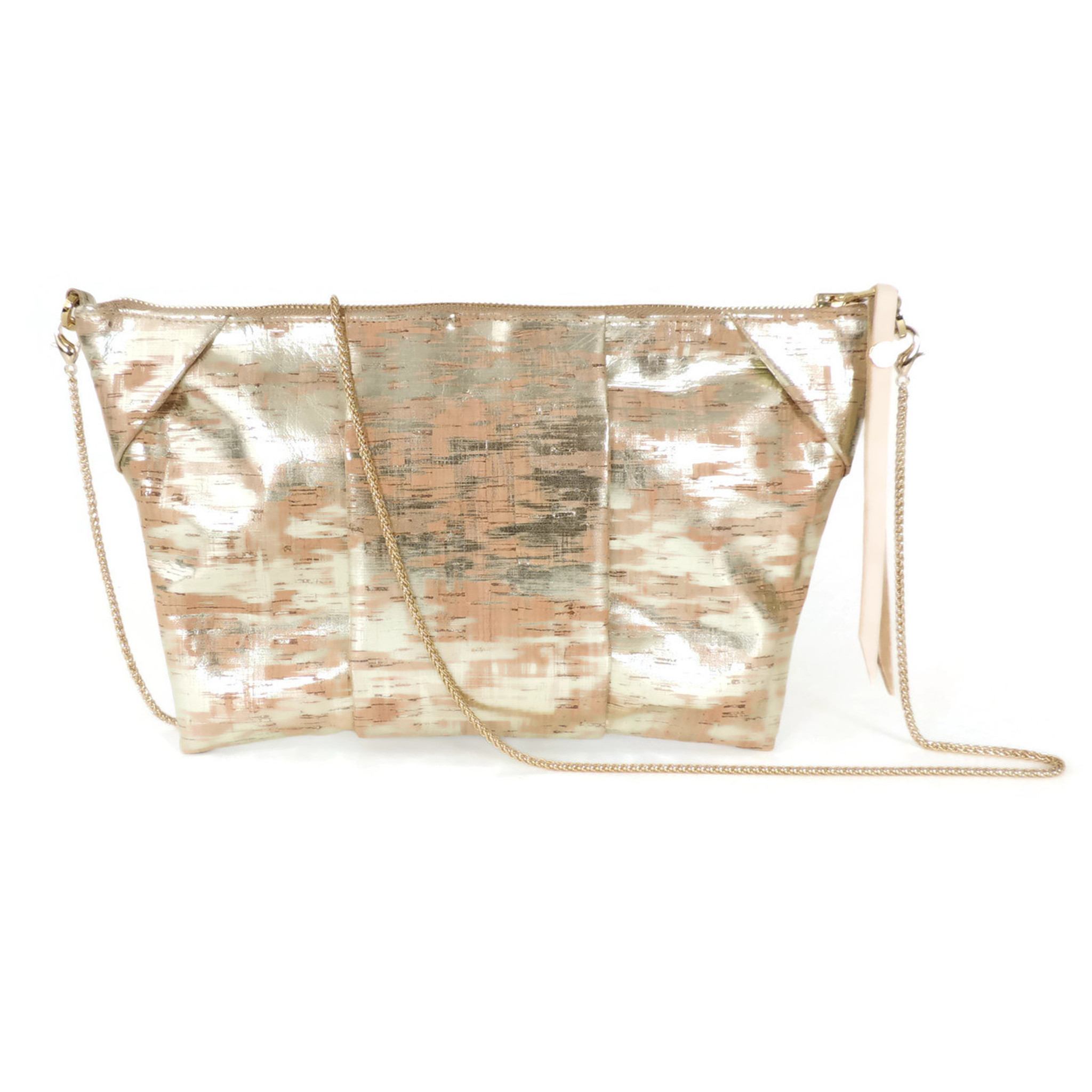 Pleated Clutch in Brushed Gold Cork