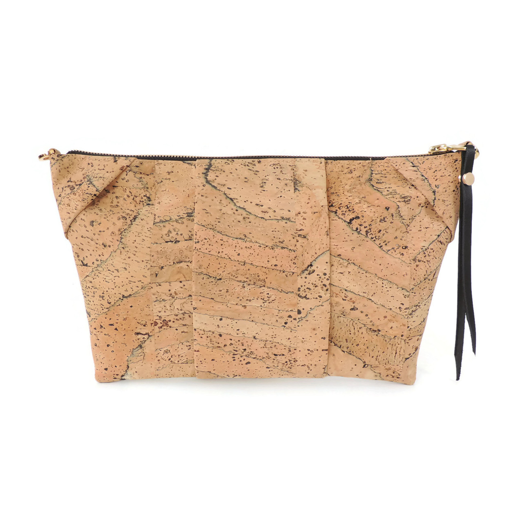 Pleated Clutch in Marble Cork