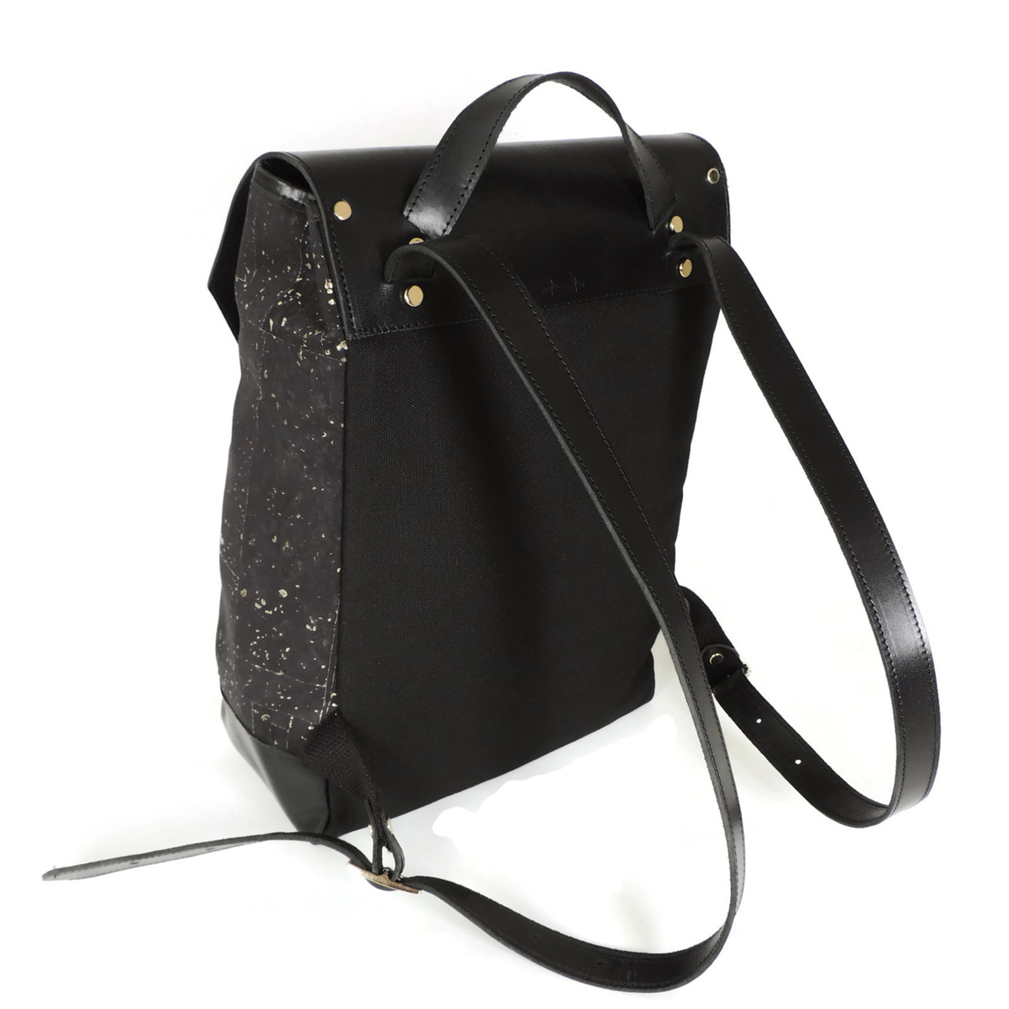 Cork & Leather Backpack in Black and Gold Cork