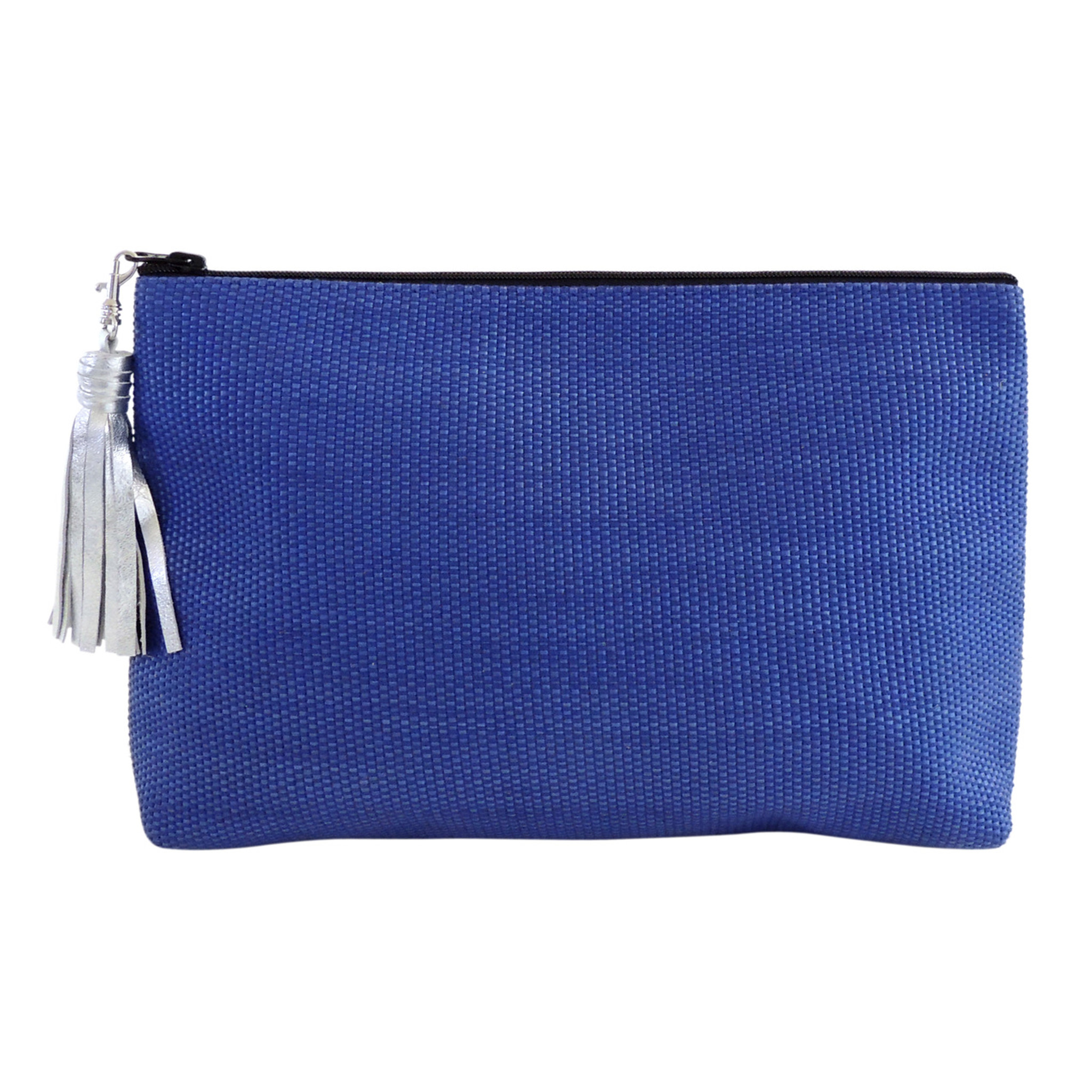 Small Silver Leather Tassel, with Carryall Clutch
