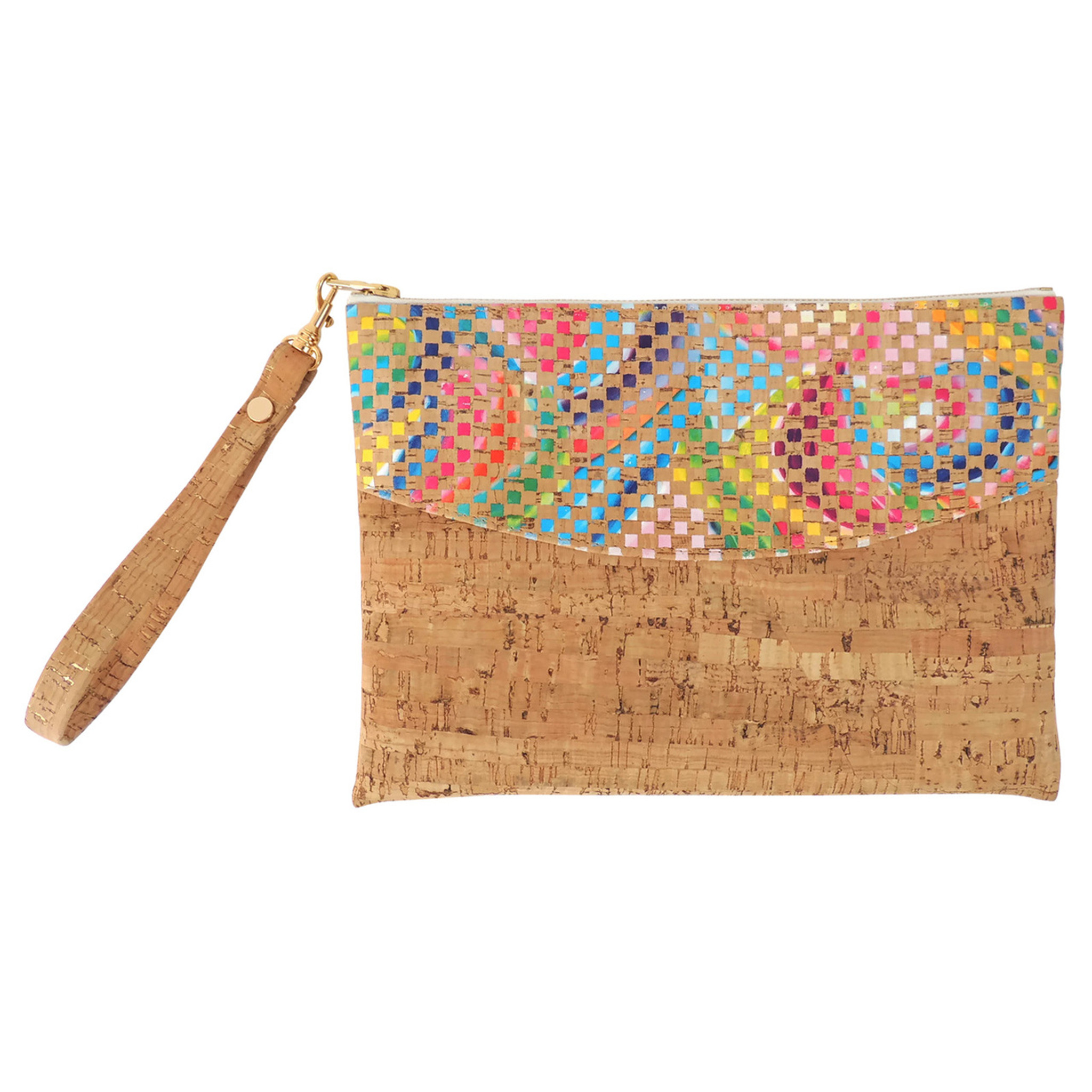 Smile Clutch in Mosaic and Dash Cork