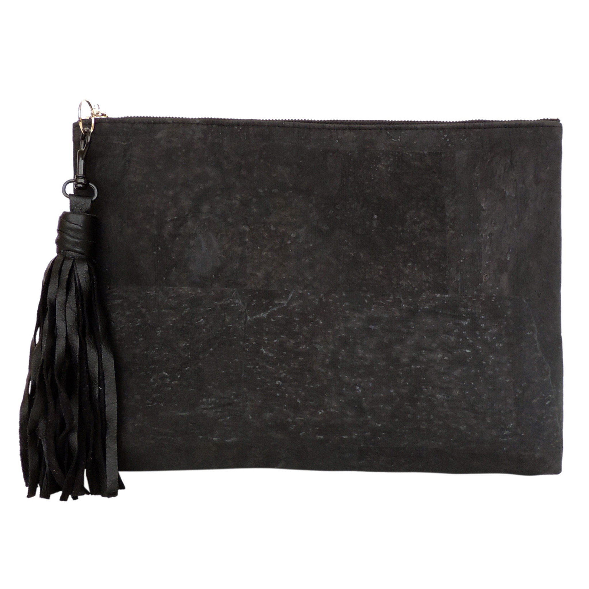 Carryall Clutch in Black Cork, with tassel (sold separately)