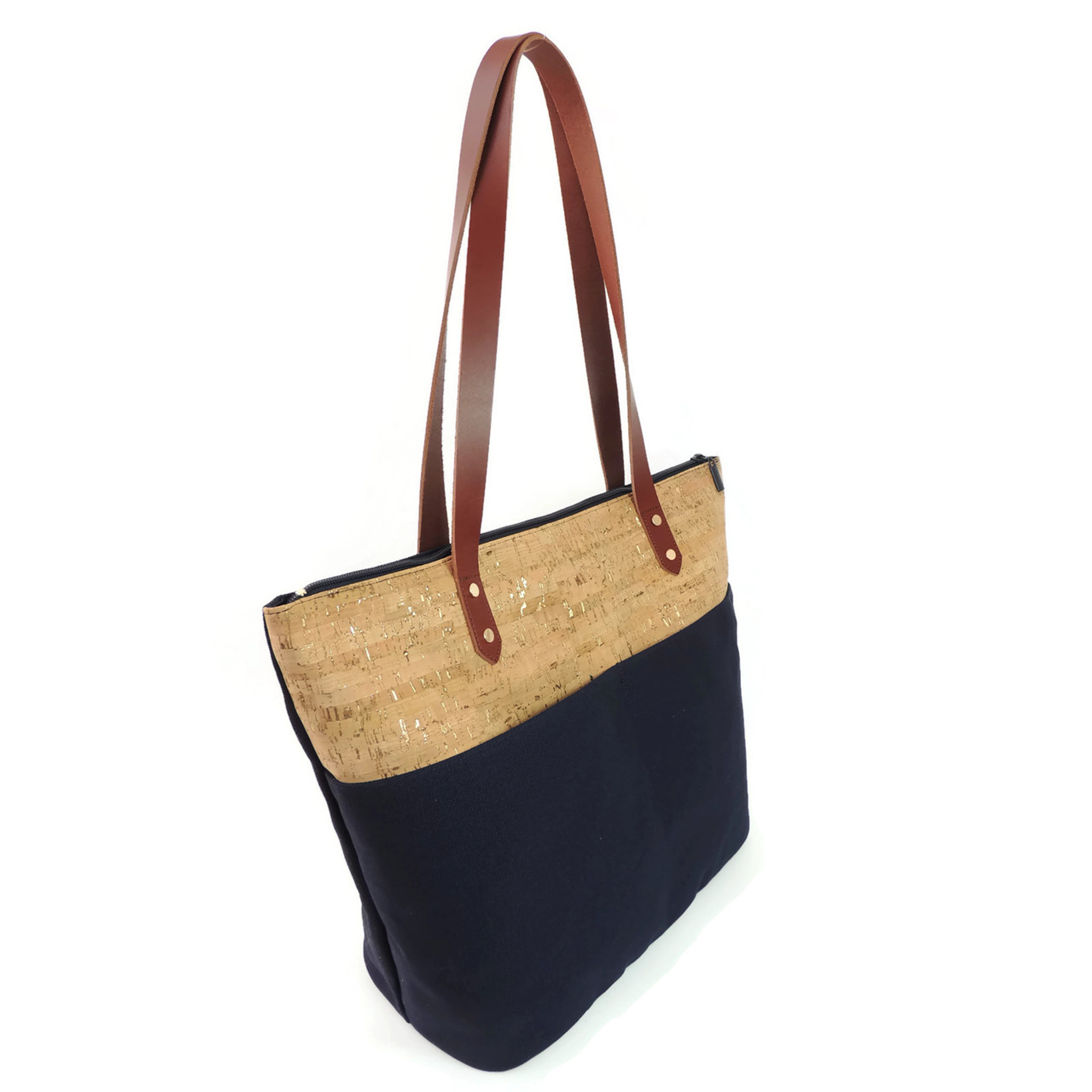 Travel Tote in Cork Dash Gold and Navy Canvas