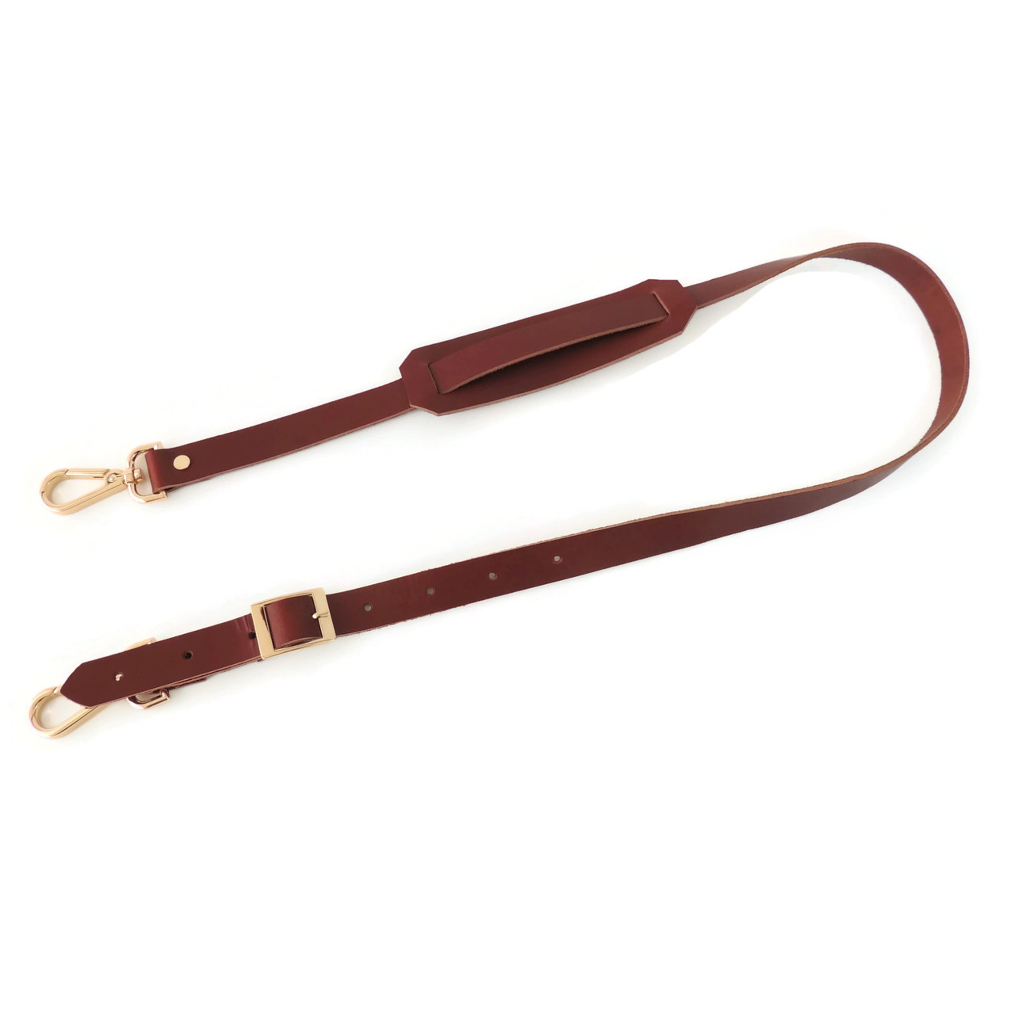 Shoulder Strap in Brown Leather with Gold Hardware