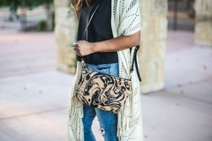 Crossbody Purse in Black Ink Cork
