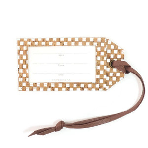 Luggage Tag in White Check Cork