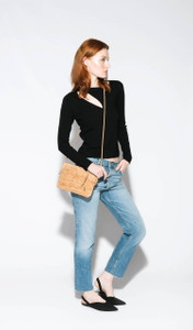 Cork Strap Crossbody Purse in Black Lotus Cork