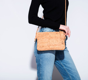 Cork Strap Crossbody Purse in Black Cork