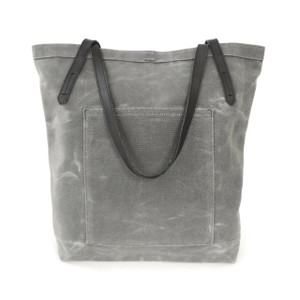 Pocket Tote in Grey Waxed Canvas