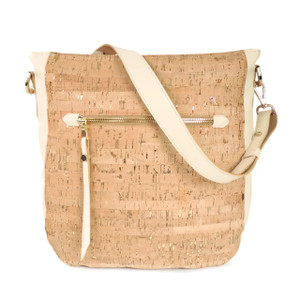 Hobo Purse in Cork Dash Gold with Sand Leather