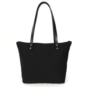 Travel Tote in Black Twill Canvas