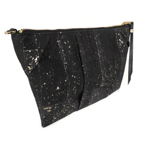 Pleated Clutch in Black and Gold Cork
