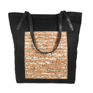 Pocket Tote in Black Twill with Fennel Cork
