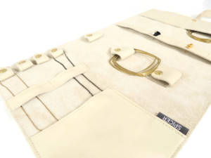 Jewelry Leather Roll in Cream