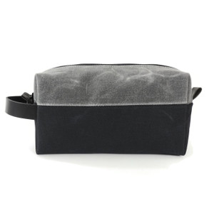 Dopp Kit in Black and Grey Waxed Canvas