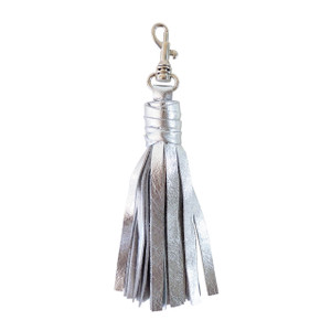Small Silver Leather Tassel